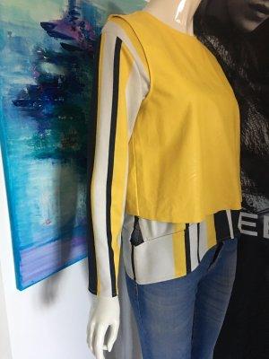 3 teile Designer Outfit Bluejeans Hallhuber Longshirt und Ledergilet vicolo Small