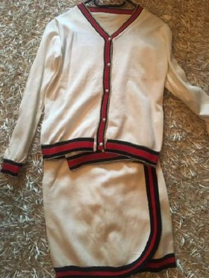 Ladies' Suit natural white-red polyester