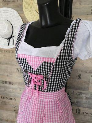 3-teiliges Dirndl NEU ✔Trachtenkleid Oktoberfest Wiesn schulterfreie Bluse + Kleid + Schürze gepunktet Polka Dots rosa-schwarz-weiß passt bei Größe 34