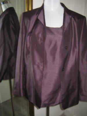 3 Tlg Anzug Hose Top Blazer Aubergine Gr 42