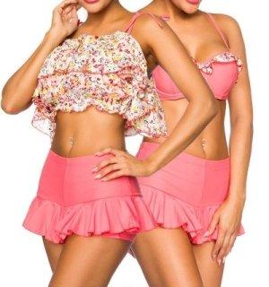 3-tlg. Bikini Set Rüschen Hotpants Badeset Beach