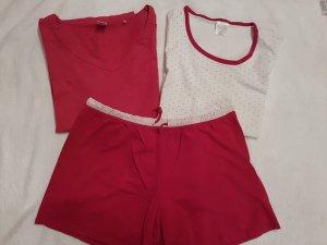 3-tlg Damen Pyjama kurz+langes Shirt+Hose Gr. 44/46, Nachtwäsche Schlafanzug