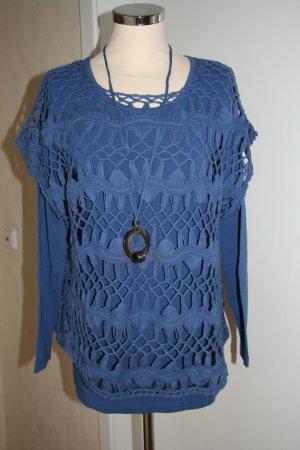 3 tlg. Set: Shirt mit Lochstrick-Pullunder und Kette von Zabaione
