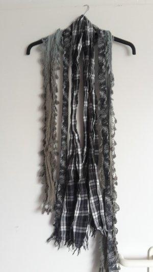 Sjaal met franjes khaki-grijs