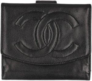 30819 Chanel CC Brieftasche, Geldbörse, Portemonnaie Leder Schwarz