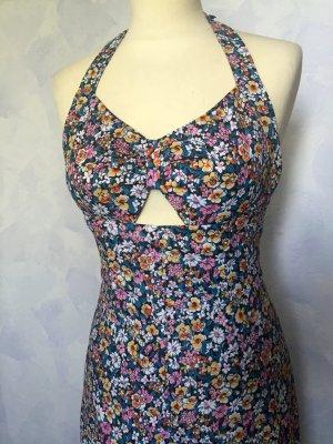 32 34 XS 152 RHONEL France maxi langes Kleid dress Blumen Neckholder