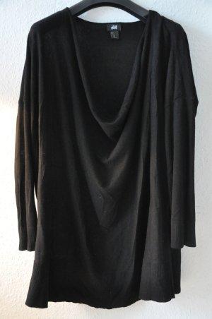 H&M Feinstrickpullover mit Wasserfallausschnitt, schwarz, Gr XS/S