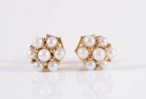 333 Gold Ohrstecker Perlen Paar  8k Goldohrringe echt perlen Juwelierstück Meisterpunze