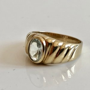333 Goldring facettierter aqua blau Edelstein Gold Ring