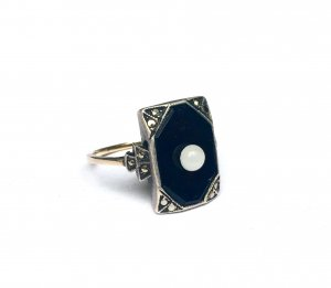 333 vintage alter Onyx Ring Echtgold Gr. 17,6 Art Déco