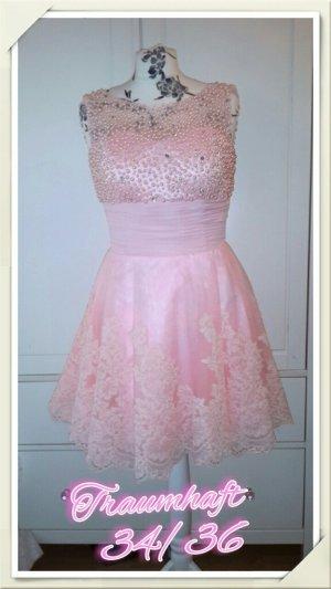 34 XS traumhaft schönes festliches Kleid Spitze Tüll rosa