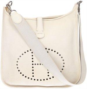 Hermès Bolso blanco-color plata Cuero