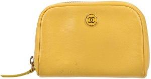 34391 Chanel CC Kosmetiktasche, Clutch Handtasche aus Leder in Gelb