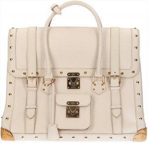 Louis Vuitton Bolso fin de semana blanco-color oro Cuero