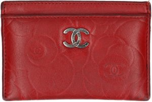Chanel Porte-cartes rouge cuir