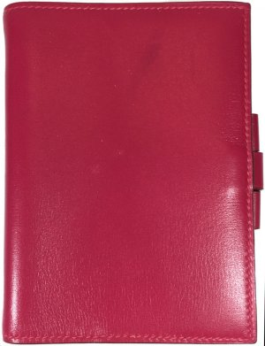 Hermès Writing Case magenta-raspberry-red leather