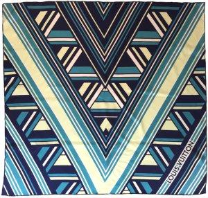 Louis Vuitton Panno di seta blu-bianco sporco Seta