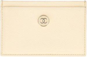 Chanel Kaartetui licht beige Leer