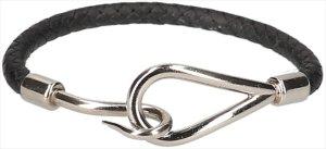 35392 Hermès Jumbo Single Tour Armband aus Leder in den Farben Schwarz und Palladium