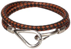 35396 Hermès Jumbo Double Tour Armband, Halskette aus Leder in den Farben Braun, Schwarz und Palladium