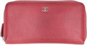 35678 Chanel Brieftasche mit Reißverschluss aus Kalbsleder in den Farben Rosa und Silber Geldbörse, Portemonnaie
