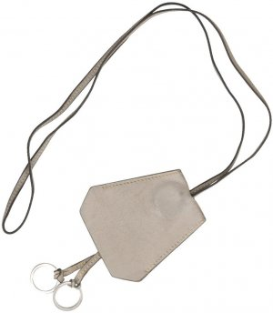 Hermès Key Chain light grey-silver-colored leather