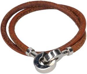 35731 Hermès Armband, Halskette, Wickelarmband aus Leder in den Farben Braun und Palladium