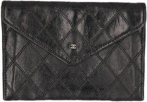 35790 Chanel CC Brieftasche Geldbörse aus Leder in den Farben Schwarz und Gold