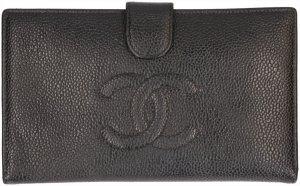 35792 Chanel CC Brieftasche Geldbörse aus genarbtem Kalbsleder und Schwarz und Gold