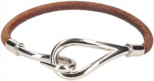 35824 Hermès Jumbo Single Tour Armband aus Leder in den Farben Braun und Palladium