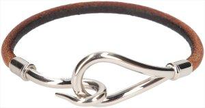 35826 Hermès Jumbo Single Tour Armband aus Leder in den Farben Braun und Palladium