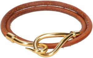 35836 Hermès Jumbo Double Tour Armband aus Leder in den Farben Braun und Gold