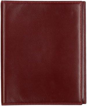 35900 Hermès Agenda, Schreibmappe aus glattem Leder in Bordeaux Rot