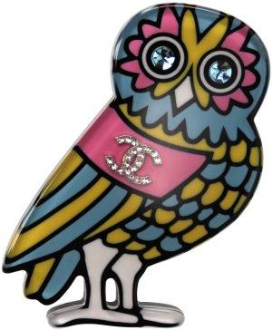 35909 Chanel Brosche aus Metall, farbenfrohem Kunstharz und glitzerndem Strass mit Box