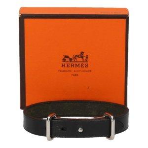 35984 Hermès Armband aus Leder in den Farben Schwarz und Palladium