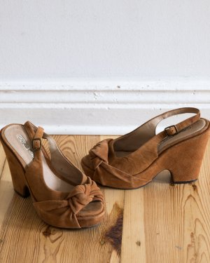 36 - 36,5 / Wedge Peep Toe Pumps im Vintage-Stil