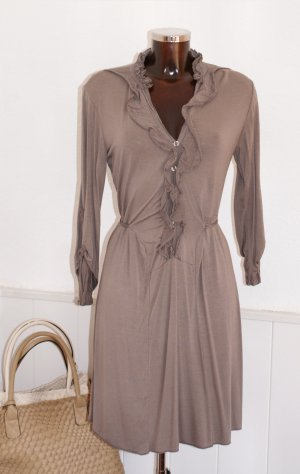 36 38 •● edles JERSEYKLEID •● KLEID Stretch •● SEIDENMIX •● taupe •● TURN-UP