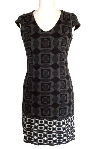 36 38 S RISSKIO Kleid dress silbergrau schwarz (Italien)