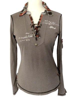 36 S SPORTALM Royal Ascot shirt top Hemd taupe graubraun Langarm