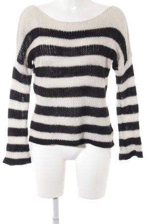 360Cashmere Pull en cashemire noir-blanc cassé motif rayé style décontracté