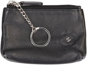 Chanel Key Chain dark blue leather