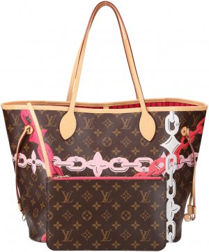 36435 Louis Vuitton Neverfull MM Monogram Chain Flower Handtasche, Tasche