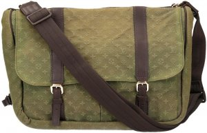 36440 Louis Vuitton Sac A Langer Schultertasche, Handtasche aus Monogram Mini Lin Canvas in Kaki