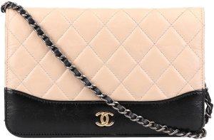 36560 Chanel CC WOC Wallet on a Chain aus Leder in schwarz und beige Umhängetasche