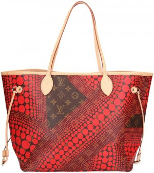 36576 Louis Vuitton Neverfull MM Monogram Kusama Canvas in Rot Handtasche, Tasche