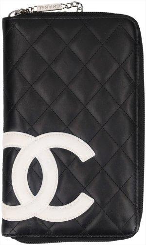 36614 Chanel CC Brieftasche, Geldbörse aus Kalbsleder in Schwarz und Weiss