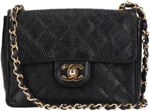 36627 Chanel CC kleine Handtasche Tales Flap aus Lizard Leder in den Farben Schwarz und Gold
