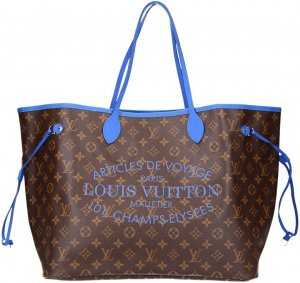 36719 Louis Vuitton Neverfull GM Monogram Ikat in Bleu Handtasche, Tasche