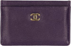 Chanel Kaartetui donkerpaars-goud Leer