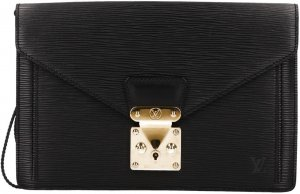 36941 Louis Vuitton Pochette Sellier Dragonne Clutch aus Epi Leder in Kouril Schwarz Handtasche, Clutch